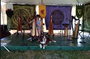 Sunny and I take the stage at the Skagit Highland Games